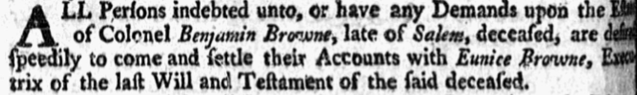 An article about Eunice Turner Browne, Boston Evening-Post newspaper article 25 June 1750