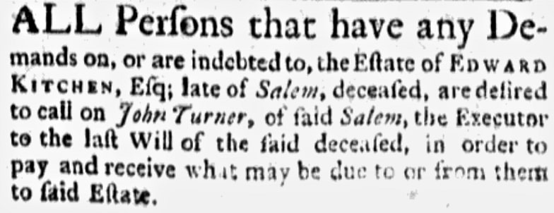 An article about Edward Kitchen, Boston Evening-Post newspaper article 8 September 1766