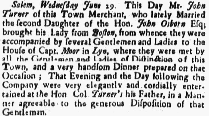 An article about the Turner-Osborne wedding, Boston Gazette newspaper article 3 July 1738