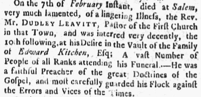 An obituary for Dudley Leavitt, Boston Post-Boy newspaper article 22 February 1762
