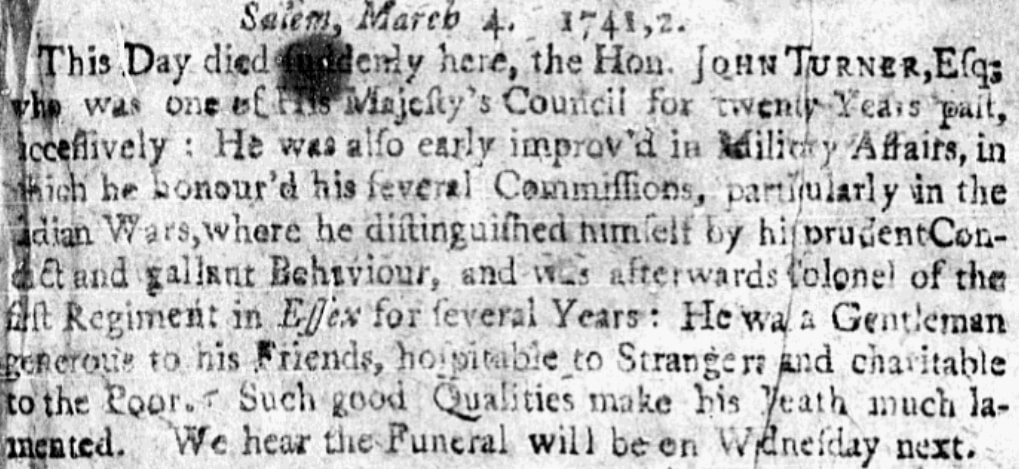 An obituary for John Turner, Boston Post-Boy newspaper article 8 March 1742