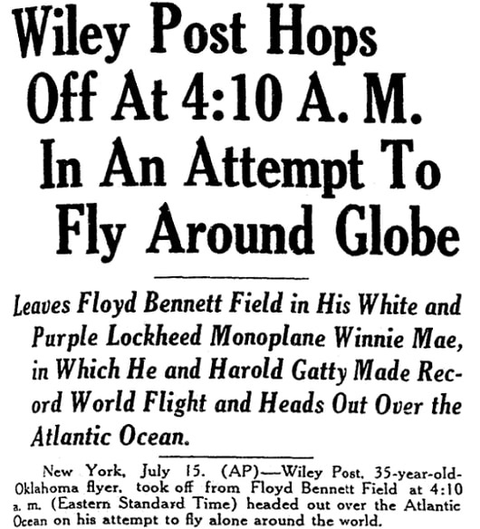 An article about Wiley Post, Daily Advocate newspaper article 15 July 1933