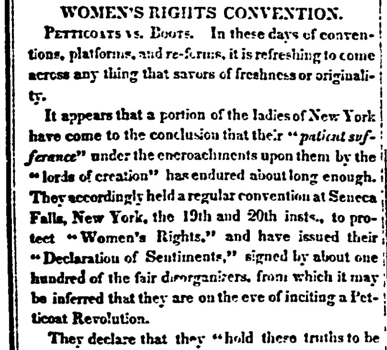 An article about the Seneca Falls Convention on women's rights, Daily Commercial Register newspaper article 29 July 1848