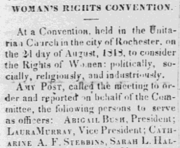 An article about the Seneca Falls Convention on women's rights, Frederick Douglass' Paper newspaper article 11 August 1848