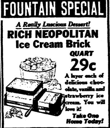 An article about ice cream, Houston Chronicle newspaper article 25 January 1940