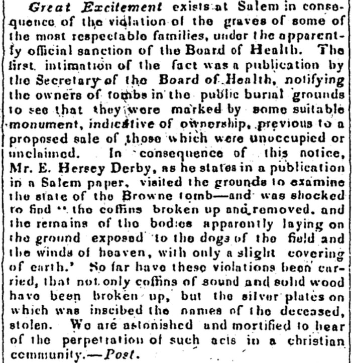 An article about tombs in Salem, Massachusetts, Maine Democrat newspaper article 23 September 1835