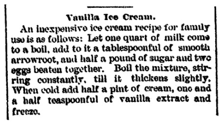 An article about ice cream, Muskegon Chronicle newspaper article 6 August 1889