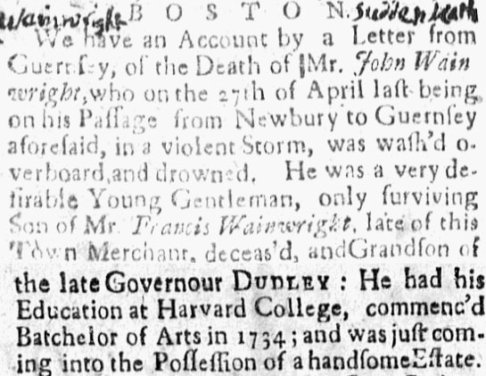 An article about John Wainwright, New-England Weekly Journal newspaper article 31 August 1736