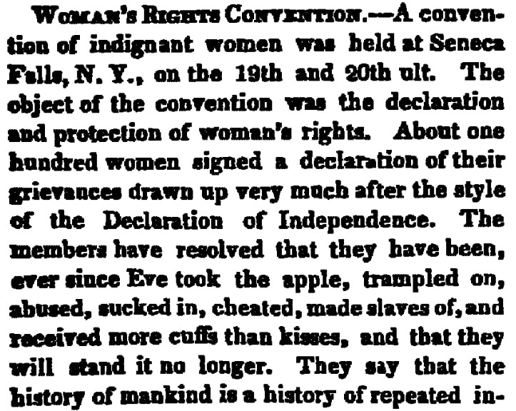 An article about the Seneca Falls Convention on women's rights, New London Democrat newspaper article 5 August 1848