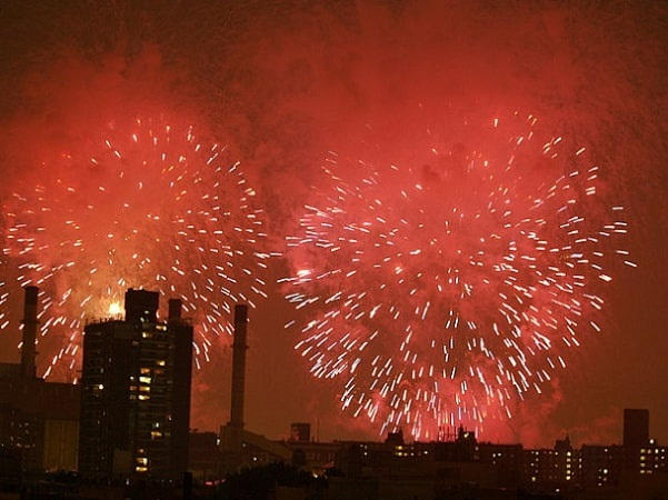 Photo: Fourth of July fireworks over the East Village of New York City. Credit: David Shankbone; Wikimedia Commons.