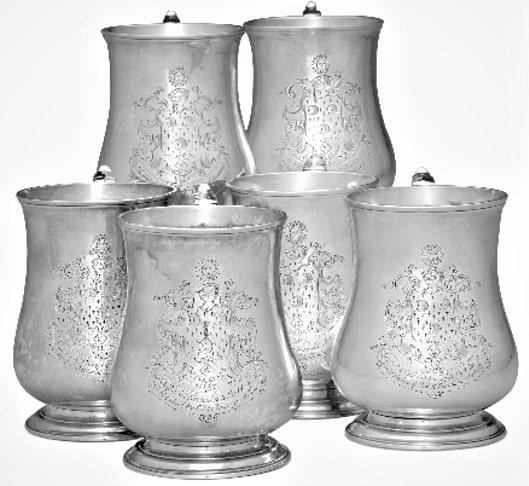 Photo: set of six silver tankards wrought by Daniel Boyer for Edward Kitchen