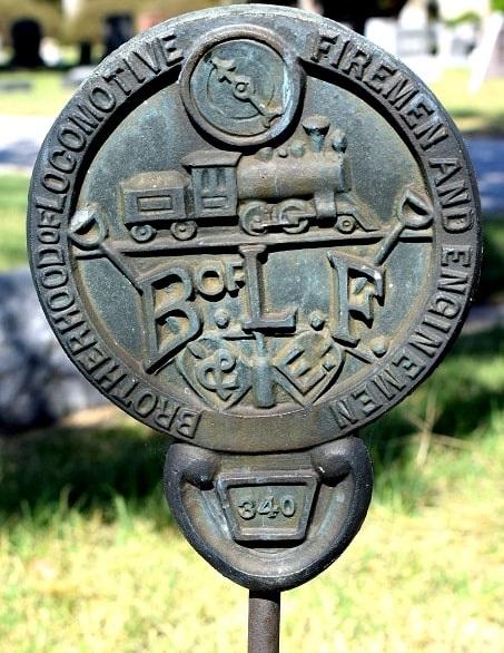 Photo: Brotherhood of Locomotive Firemen and Enginemen grave marker. Credit: Gary W. Clark, PhotoTree.com.