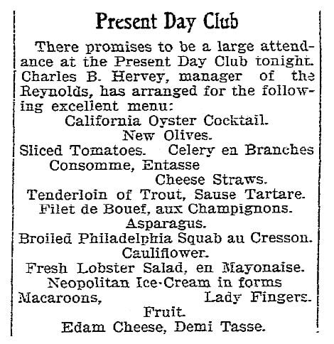 A banquet menu, Riverside Daily Press newspaper article 24 October 1902