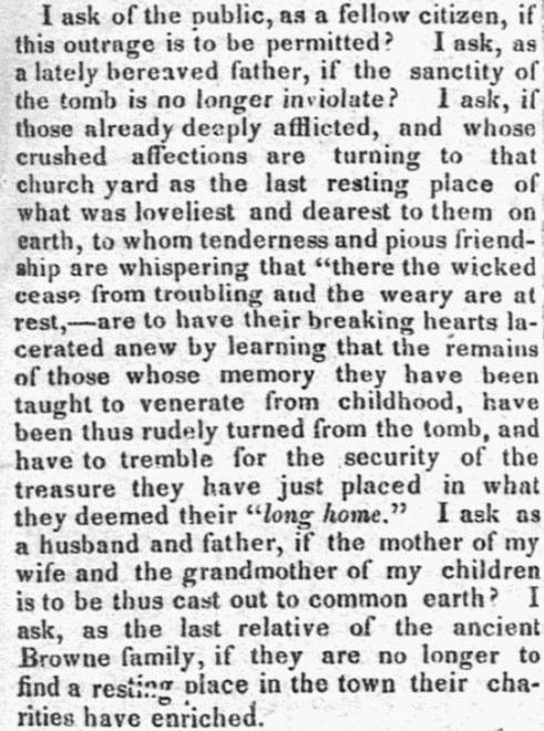 An article about tombs in Salem, Massachusetts, Salem Gazette newspaper article 11 September 1835