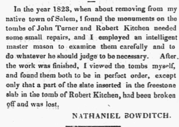 An article about tombs in Salem, Massachusetts, and Nathaniel Bowditch, Salem Gazette newspaper article 15 September 1835