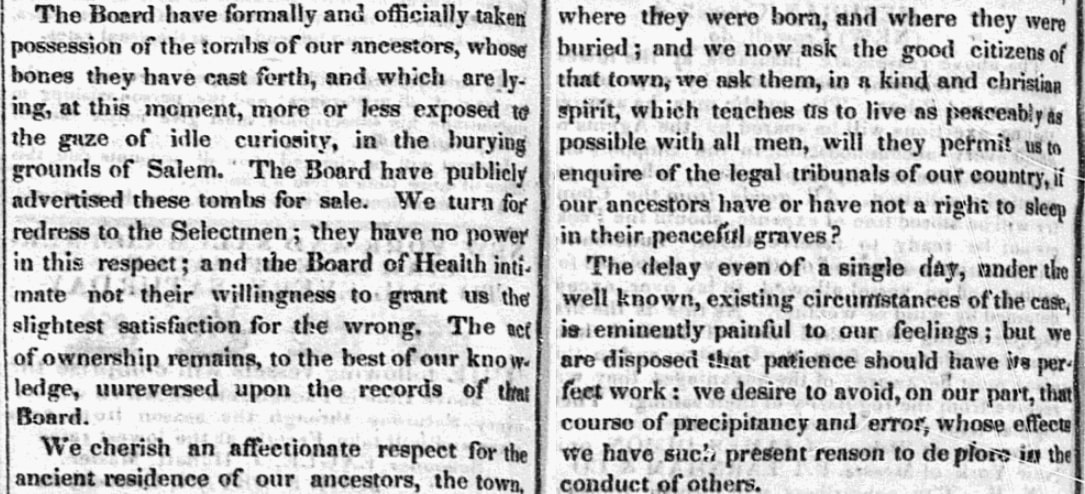 An article about tombs in Salem, Massachusetts, with an appeal to the public, Salem Gazette newspaper article 25 September 1835