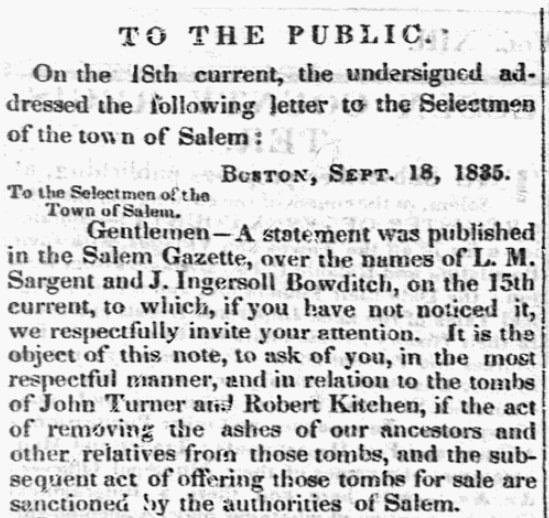 An article about tombs in Salem, Massachusetts, Salem Gazette newspaper article 25 September 1835