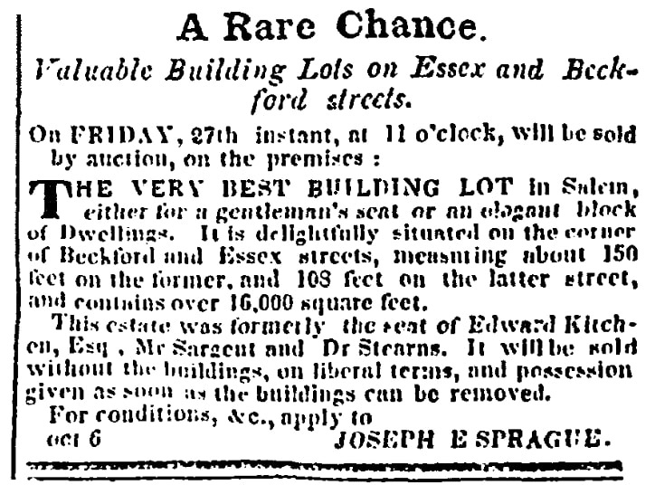 An article about a building lot for sale, Salem Observer newspaper article 20 October 1849