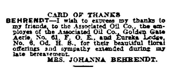 """A """"Card of Thanks,"""" San Francisco Chronicle newspaper article 27 September 1925"""