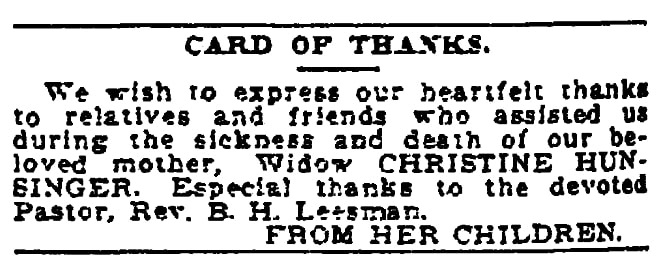 """A """"Card of Thanks,"""" Times-Picayune newspaper article 26 January 1908"""