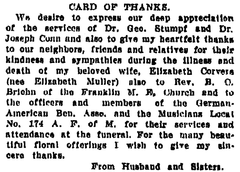 """A """"Card of Thanks,"""" Times-Picayune newspaper article 7 February 1915"""