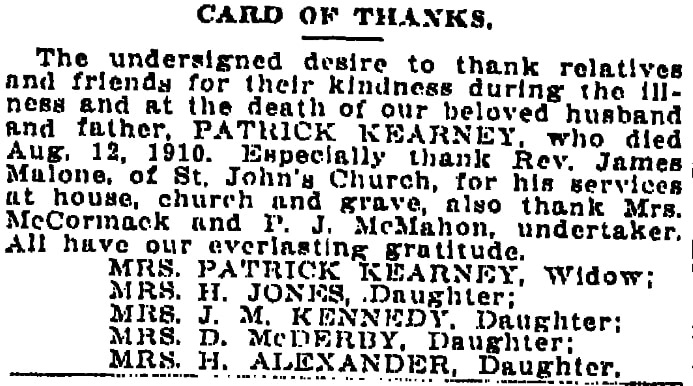 """A """"Card of Thanks,"""" Times-Picayune newspaper article 21 August 1910"""