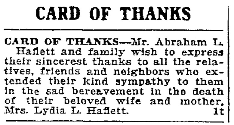 """A """"Card of Thanks,"""" Trenton Evening Times newspaper article 21 March 1915"""