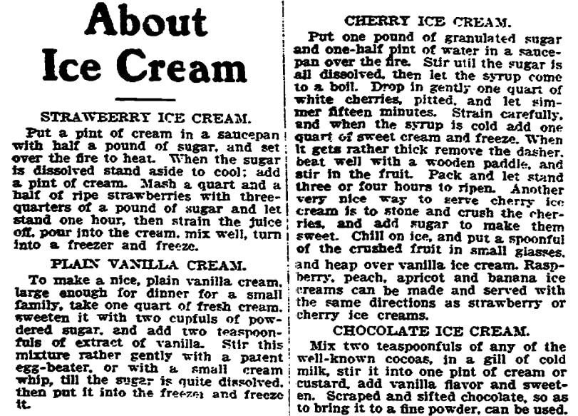 An article about ice cream, Trenton Evening Times newspaper article 28 November 1905