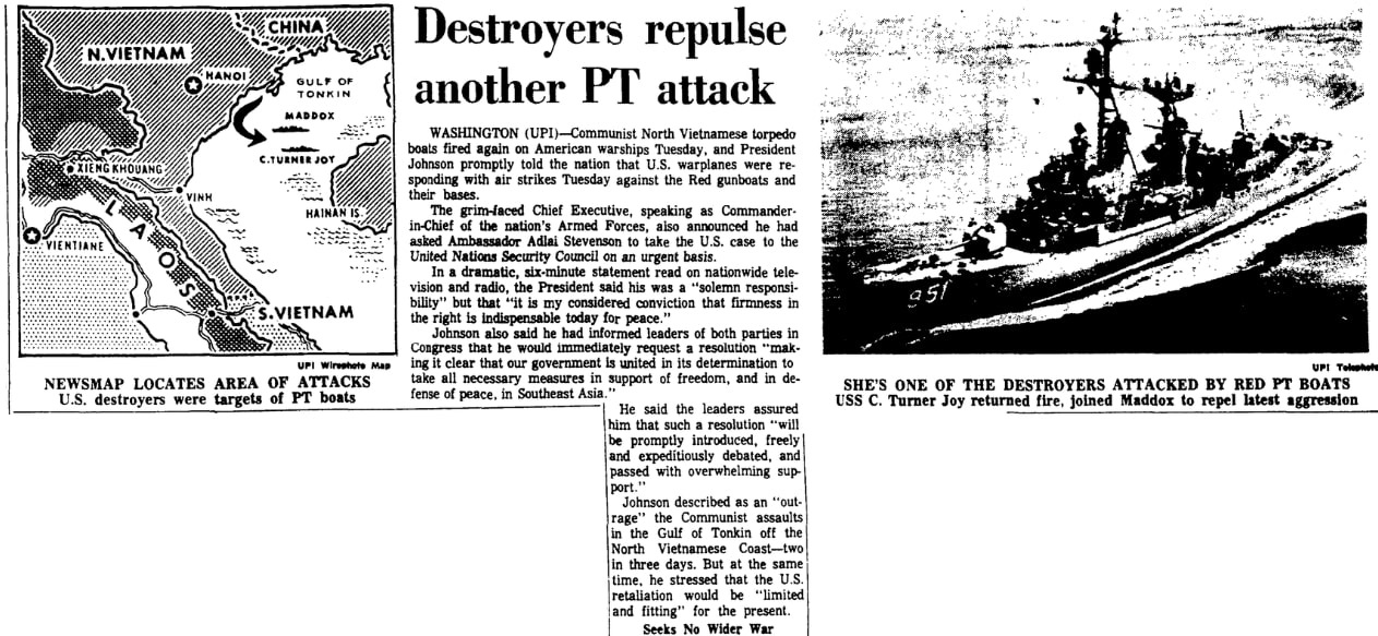 An article about the Vietnam War, Augusta Chronicle newspaper article 5 August 1964