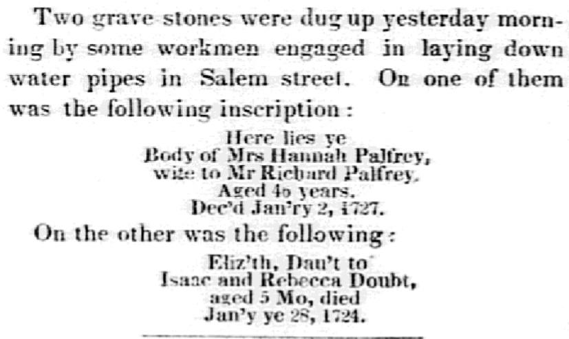 An article about Hannah Palfrey, Boston Evening Transcript newspaper article 23 April 1847
