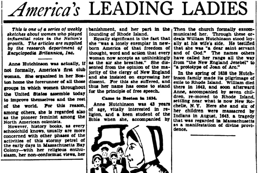 An article about Anne Hutchinson, Evening Star newspaper article 8 February 1942