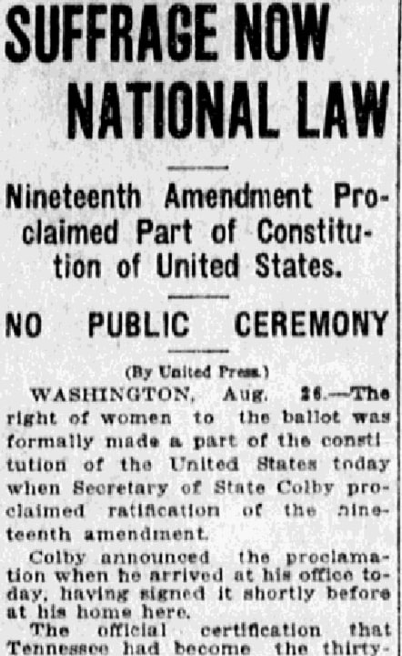 An article about the 19th Amendment, Fort Wayne News Sentinel newspaper article 26 August 1920