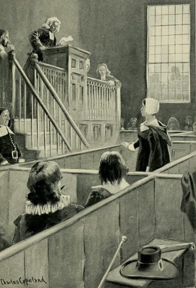 """Illustration: """"Anne Hutchinson on Trial,"""" from Geraldine Brooks' book """"Dames and Daughters of Colonial Days,"""" New York: T.Y. Crowell & Co., 1900, p. 23."""