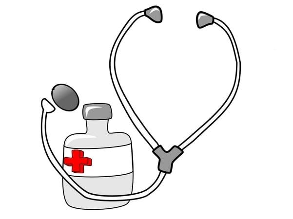Illustration: medicine and a stethoscope