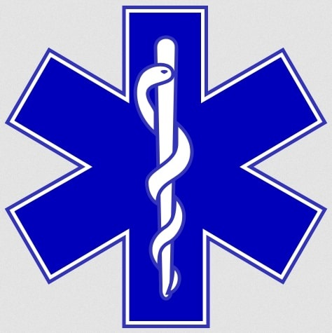 Illustration: Star of Life with the Rod of Asclepius, symbol of emergency medical services.