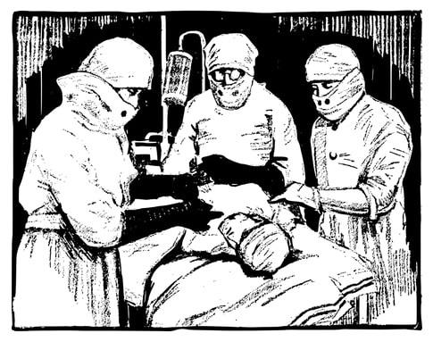 Illustration: a patient undergoing surgery.
