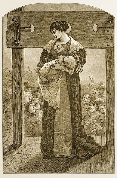 """Illustration: Hester Prynne at the pillory, wearing her scarlet """"A"""" and holding her illegitimate daughter Pearl, from an 1878 edition of """"The Scarlet Letter."""""""