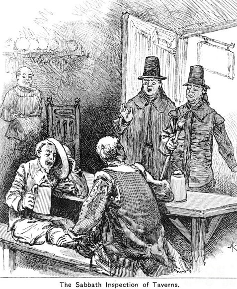 """Illustration: """"Puritans Inspecting Taverns for Tipplers"""""""