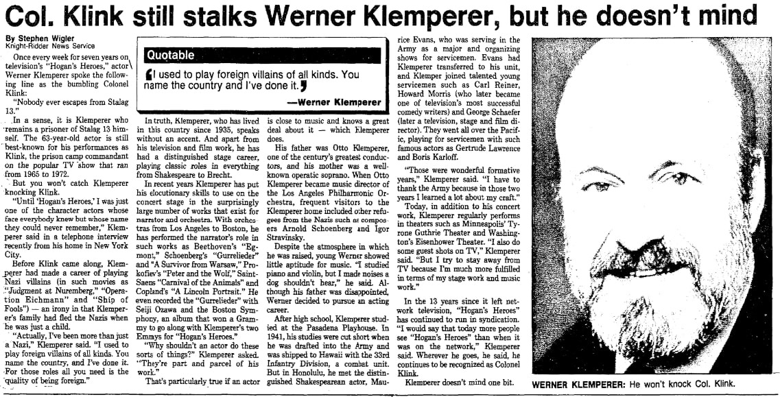 An article about Werner Klemperer, Las Vegas Review-Journal newspaper article 22 May 1985