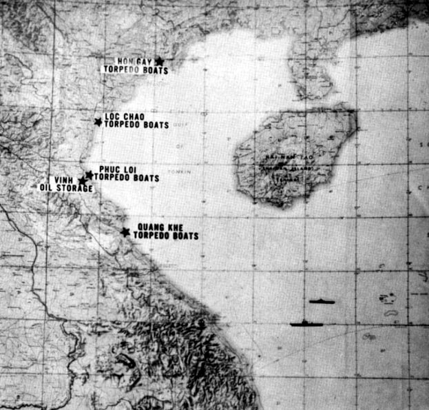 """Map: Map showing the targets of """"Operation Pierce Arrow"""" on 5 August 1964"""