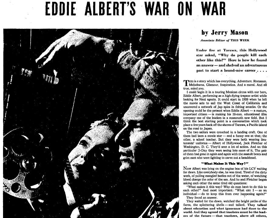 An article about Eddie Albert, Milwaukee Journal newspaper article 19 October 1947