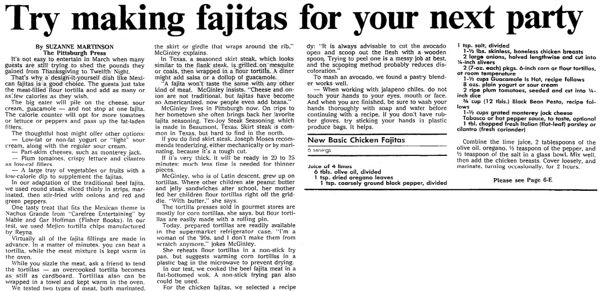 An article about fajitas, Mobile Register newspaper article 26 March 1992