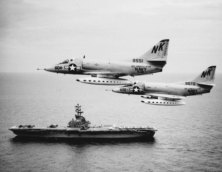 Photo: VA-146 A-4Cs from USS Constellation a week after Operation Pierce Arrow