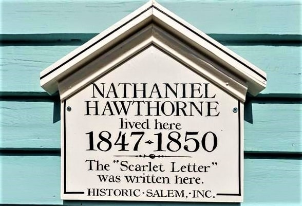 """Photo: historic marker at 14 Mall Street, Salem, Massachusetts, the home where Nathaniel Hawthorne wrote """"The Scarlet Letter."""""""