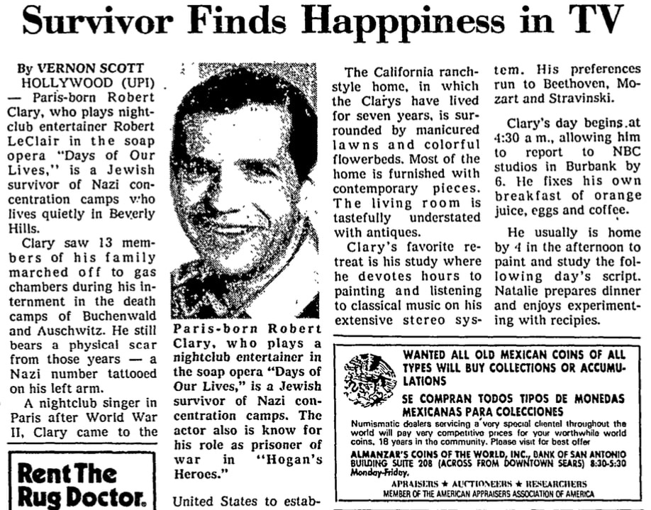 An article about Robert Clary, San Antonio Light newspaper article 15 October 1978