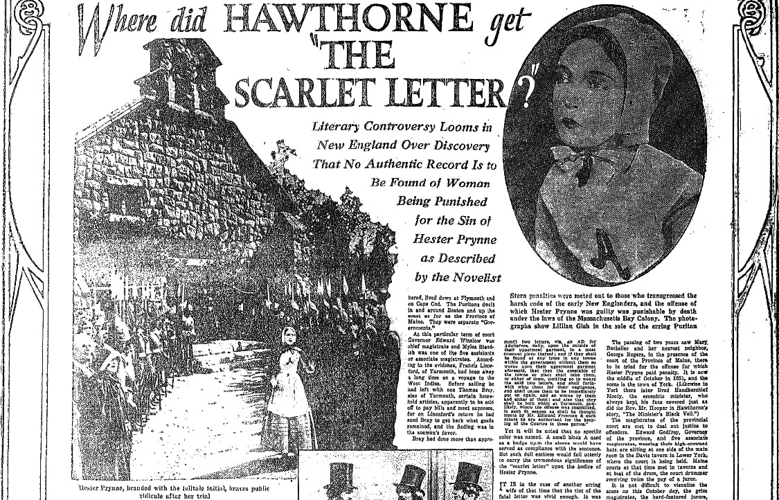 An article about Nathaniel Hawthorne, Springfield Republican newspaper article 17 July 1927
