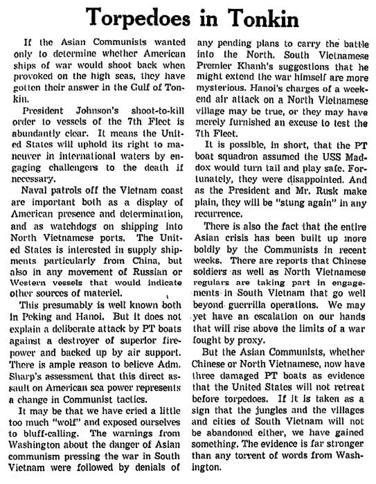 An article about the Vietnam War, Springfield Union newspaper article 4 August 1964