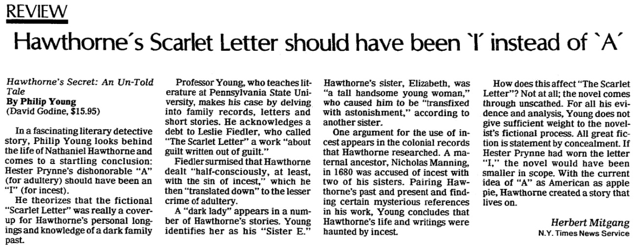 An article about Nathaniel Hawthorne, State Journal-Register newspaper article 2 December 1984