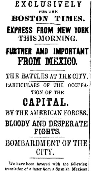 An article about the Mexican-American War, Boston Daily Times newspaper article 6 October 1847