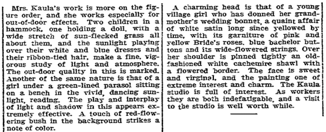 An article about Lee Kaula, Boston Herald newspaper article 28 November 1909